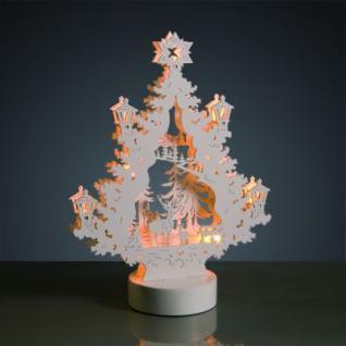 Hellum LED-Leuchter Holz Rentiere 9 BS warmweiß/weiß innen batteriebetrieben