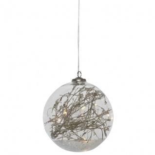 LED-Glaskugel, 10 warmweiße LEDs, Ø 12 cm