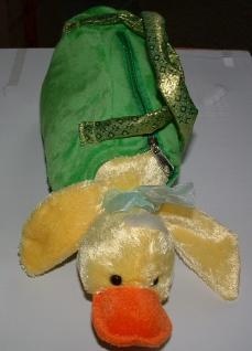 Handtasche Plüschtasche Ente, Ententasche, grün gelb