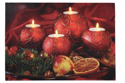 LED-Bild rechteckig 4 runden Kerzen 4 BS warmweiß innen - Vorschau