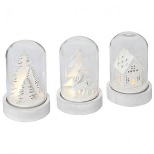 Glaskuppel, weiß, 3er-Set, je 1 ww LED