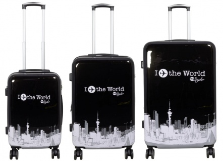 Kofferset 3tlg Reisekoffer Polycarbonat Hartschale Fly the world schwarz