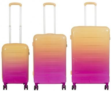 Kofferset 3 tlg. Trolleyset Reisekoffer Hartschale Lugano orange pink
