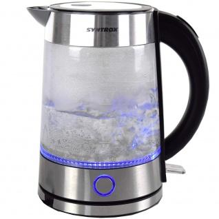 Syntrox 1, 7 Liter Edelstahl schnurlos Glas Wasserkocher Rio mit blauem LED Licht 360° - Vorschau 2