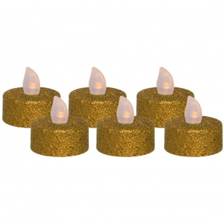 LED-Teelichter, 6er-Set, Glitzer gold