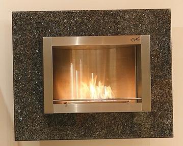 Wandkamin Feuerstelle Kamin 110 x 90 cm Granit Poliert Blue