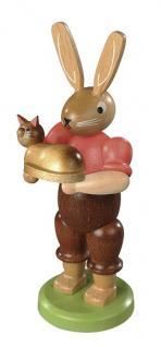 Kleinkunst aus dem Erzgebirge® seit 1899 - Hase mit Katze farbig lasiert, klein, 11cm