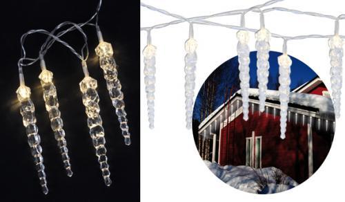 LED Lichterkette, 40 Eiszapfen, Lichtschlauch, warmweiß, 9 Meter