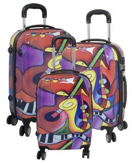 Kofferset 3 tlg. Trolleyset Reisekoffer Hartschale MUSIK