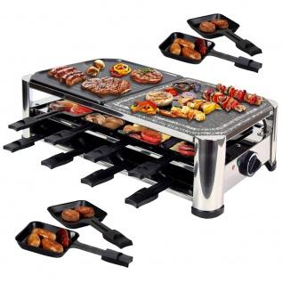Syntrox Raclette mit 16 Pfännchen, Grillplatte und Heißem Stein