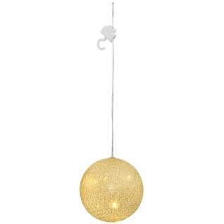 LED-Kugel, weiß-goldene Fäden 5, Ø 10 cm