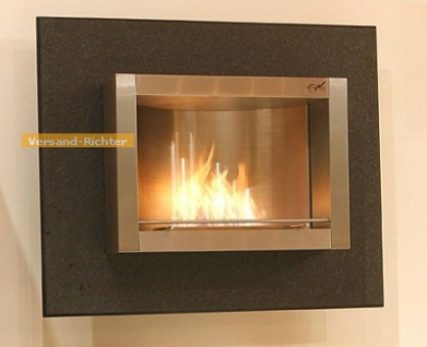 Wandkamin Feuerstelle Kamin 110 x 90 cm Granit geflammt Nero