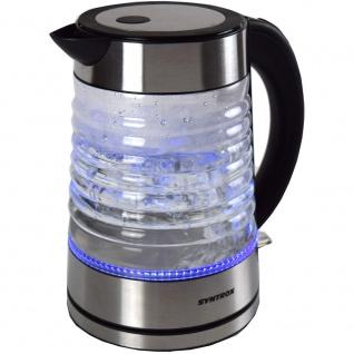 Syntrox 1, 7 Liter Edelstahl schnurlos Glas Wasserkocher Agua mit blauem LED Licht 360° cordess Wasserkessel
