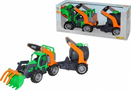 Wader GripTruck Traktor mit Heckbagger und Fassanhänger