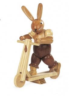 Müller-Kleinkunst aus dem Erzgebirge® seit 1899 Hase auf Roller, natur 11 cm
