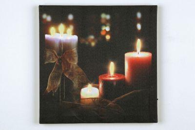 LED-Bild quadratisch 8 Kerzen/Teelichter 8 BS warmweiß innen