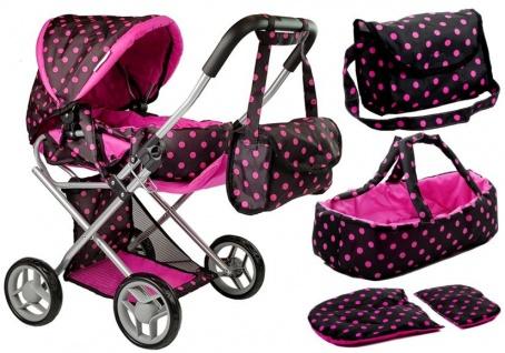Alice Doll Puppenwagen Tragetasche Schwarz-Pink