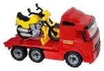 VOLVO Truck mit Plattform und Rennmotorrad