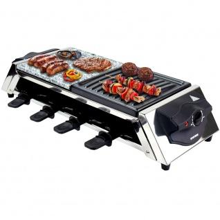 Syntrox Edelstahl Raclette für 8 Personen mit Grillplatte und Heißem Stein
