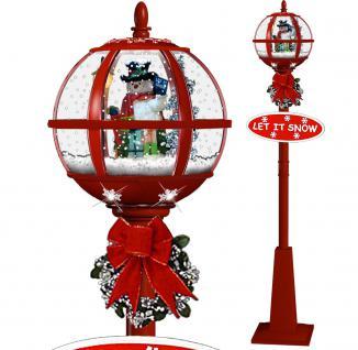 Schneiende LED Laterne 175 cm, rot, mit Schneemann, In- und Outdoor