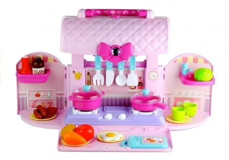 Küche im Koffer mit viel Zubehör Pink