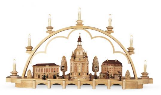 Müller-Kleinkunst aus dem Erzgebirge® seit 1899 - Schwibbogen Alt Dresden, mittelgroß, natur elektr. beleuchtet (230V) limitierte Auflage, 80x20x43cm