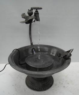 Metall-Brunnen Gartenbrunnen 2 VÖGEL mit Wasserspiel + Elektropumpe