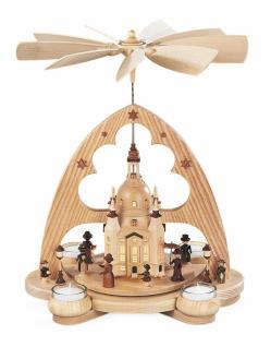 Bogenpyramide Frauenkirche, Natur Led Beleuchtung, Batteriebetrieben, 29x22x36cm