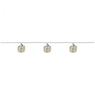 Rotpfeil LED-Minilichterkette mit 10 warmweißen LEDs Metallquadrate batteriebetrieben