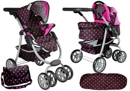 Puppenwagen mit schwarz-rosa 2in1 Gondel Tasche