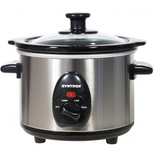 Syntrox 2, 5 Liter Edelstahl Slow Cooker mit Warmhaltefunktion