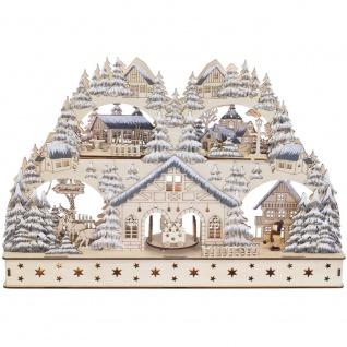 Weihnachtsleuchter und Pyramide, Winterstadt, warmweiße LEDs