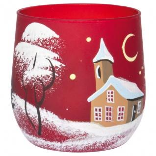 Teelichthalter, Winterlandschaft, rot
