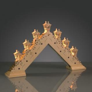 Hellum LED-Leuchter Holz Laternen natur 7 BS warmweiß innen