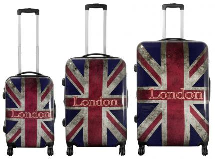 Kofferset 3 tlg. Trolleyset Reisekoffer Hartschale Union Jack London