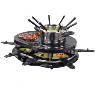 Syntrox Raclette-Grill Locarno mit Fondue & Heißem Stein