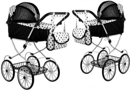 Puppenwagen Alice Retro Kinderwagen Puppe Schwarz