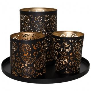 Teelichthalter, 3er-Set, Metall schwarz