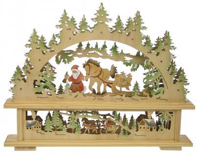 LED Holzleuchter Fensterleuchter Nikolaus Weihnachtsleuchter Lichterbogen