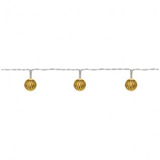 Konst Smide LED-Minilichterkette mit 20 warmweißen LEDs goldene Metallbälle batteriebetrieben