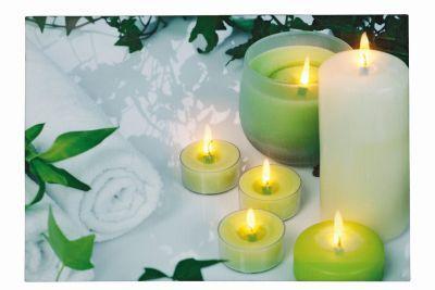 LED-Bild rechteckig 6 Kerzen/Teelichter 6 BS warmweiß innen