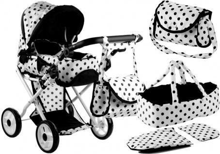 Puppenwagen Alice Kinderwagen Puppe Babytrage Set Wagen Weiß