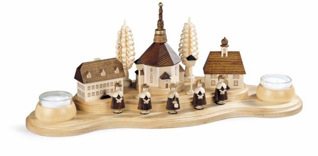 Müller-Kleinkunst aus dem Erzgebirge® seit 1899 Kerzenhalter Seiffener Dorf, groß - Vorschau