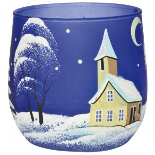 Teelichthalter Winterlandschaft blau