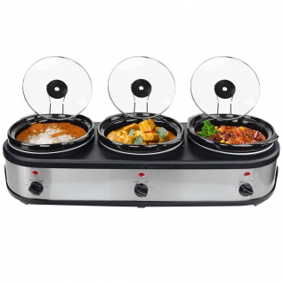 Syntrox Edelstahl Slow Cooker 3 x 2, 5 Liter