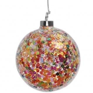 Glaskugel, warmweiße LEDs, bunte Pailletten, Ø 15 mm