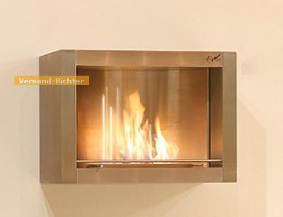 Wandkamin Feuerstelle Kamin 72 x 52 cm aus Edelstahl WK-01-ED
