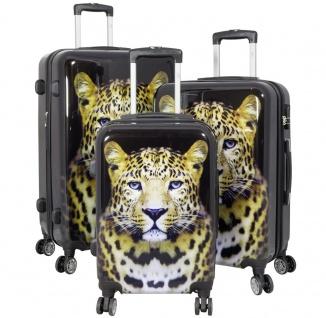 Kofferset 3 tlg. Trolleyset Reisekoffer Hartschale LEOPARD