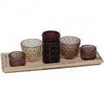 Teelichthalter, 5er-Set, lila/braun