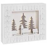 Adventskalender Winterstadt im Wald, 10 ww LEDs, Holz weiß
